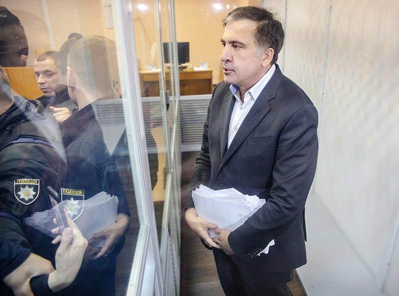 Михаил Саакашвили во время судебного процесса по избранию ему меры пресечения