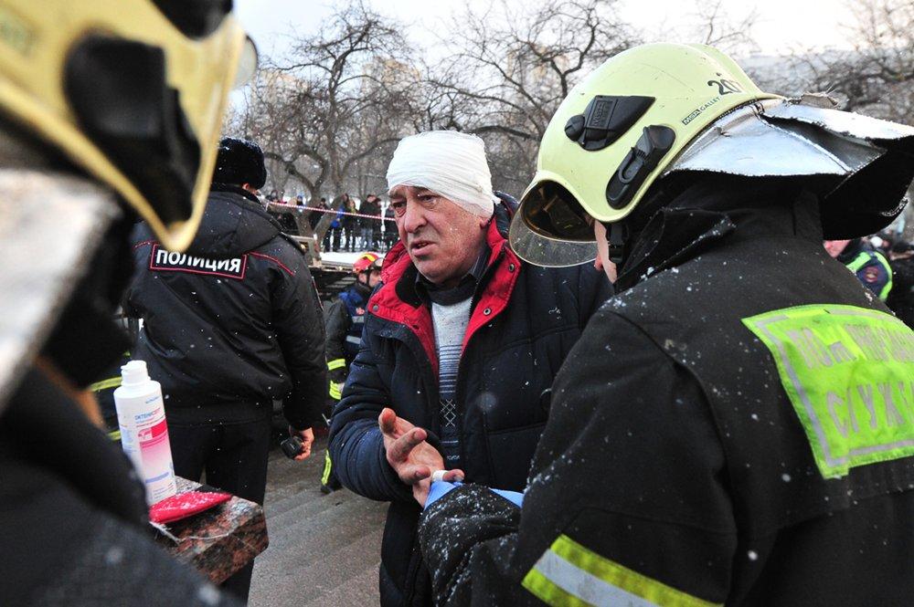 Водитель автобуса Виктор Тихонов на месте ДТП на Кутузовском проспекте