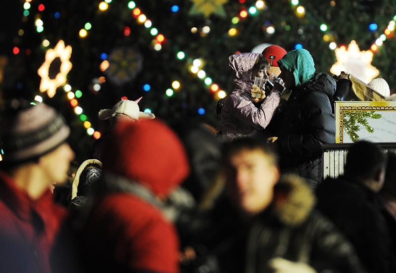 Жители Москвы встречают Старый Новый год на Красной площади