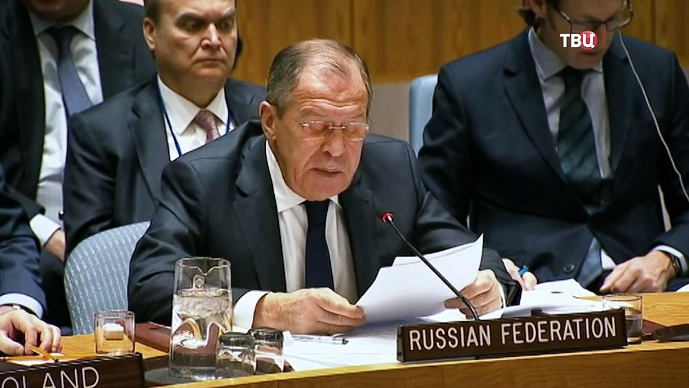 Глава МИД России Сергей Лавров на заседании ООН