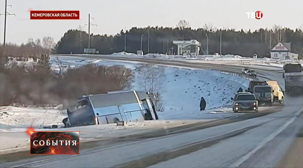 ДТП с участием автобуса и фуры в Кемеровской области