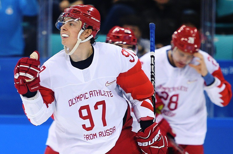 Российский хоккеист Никита Гусев в матче со сборной Чехии на ОИ-2018