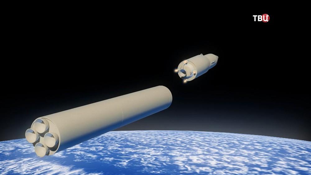 3D-модель стратегического ракетного комплекса на орбите Земли