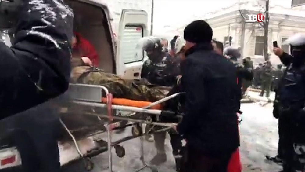 Пострадавшие в результате беспорядков у здания Верховной Рады Украины