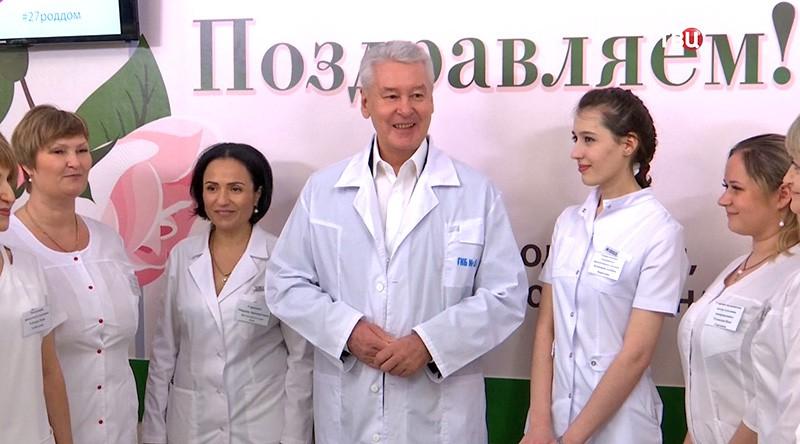 Сергей Собянин на открытии роддома № 27