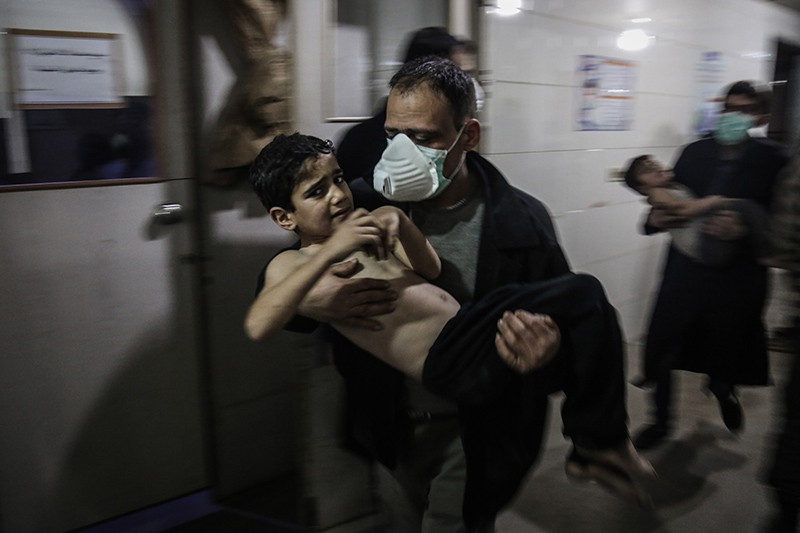 Пострадавшие жители Восточной Гуты, Сирия