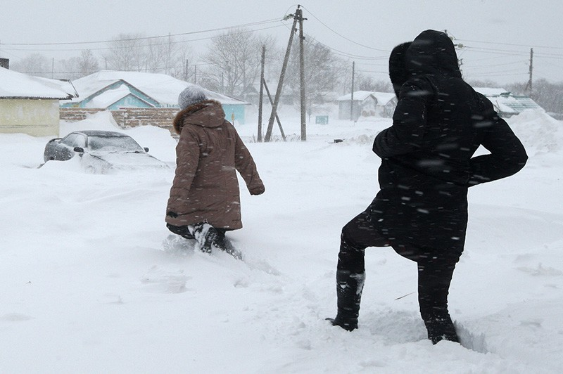 Последствия снежного циклона на Сахалине