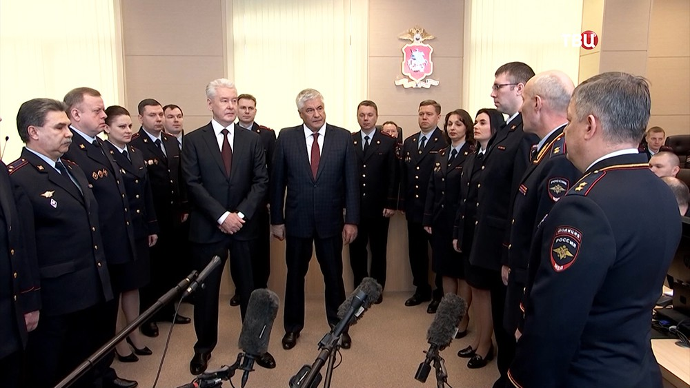 Сергей Собянин во время открытия Центра оперативного управления ГУВД Москвы