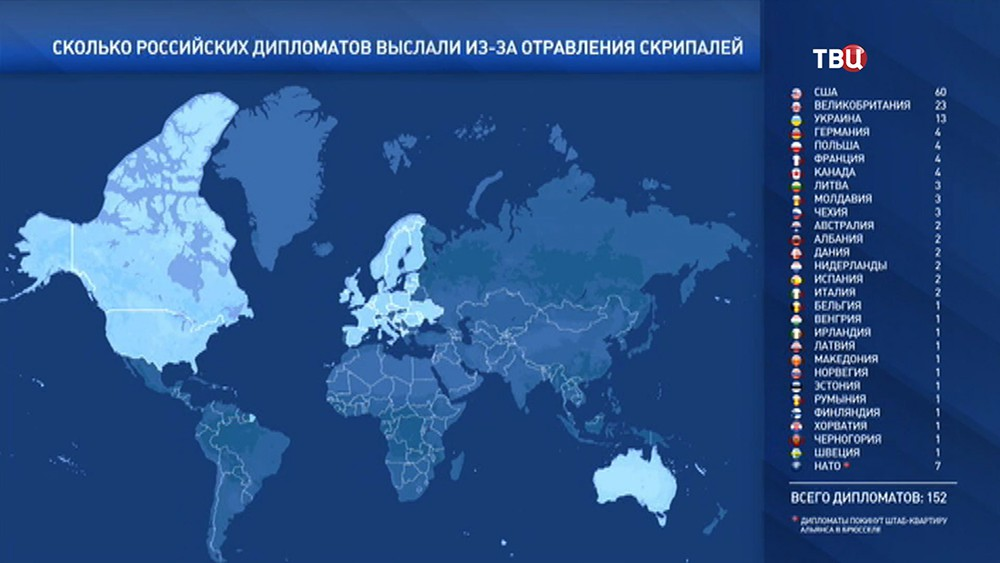 Перечень стран выславших российских дипломатов из-за отравления Скрипаля