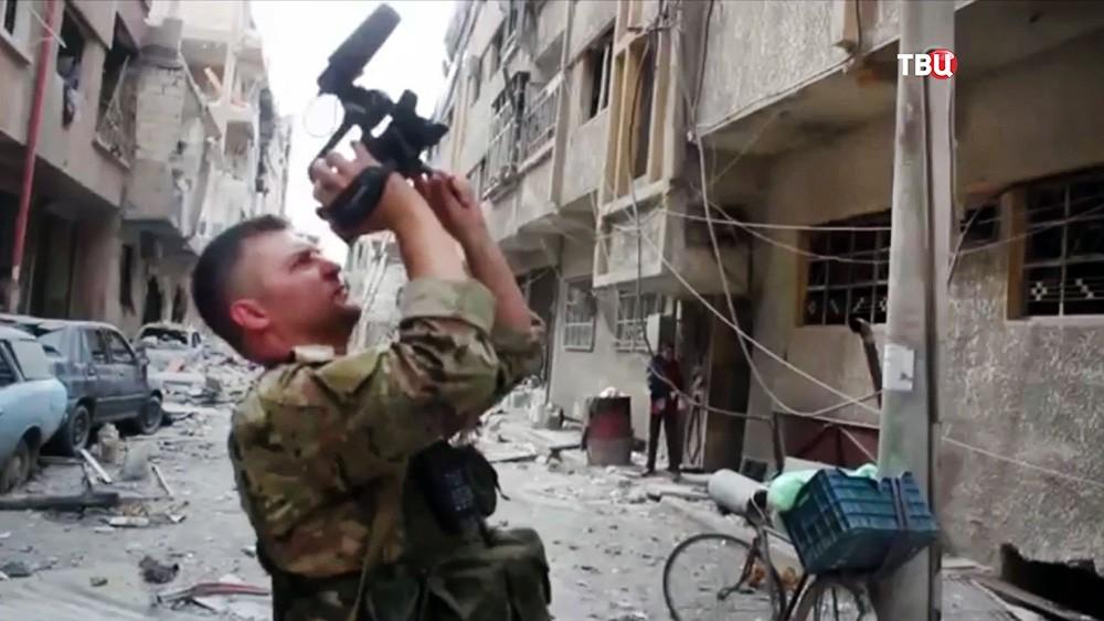Представители Минобороны России на месте, якобы примененного химоружия в Сирии