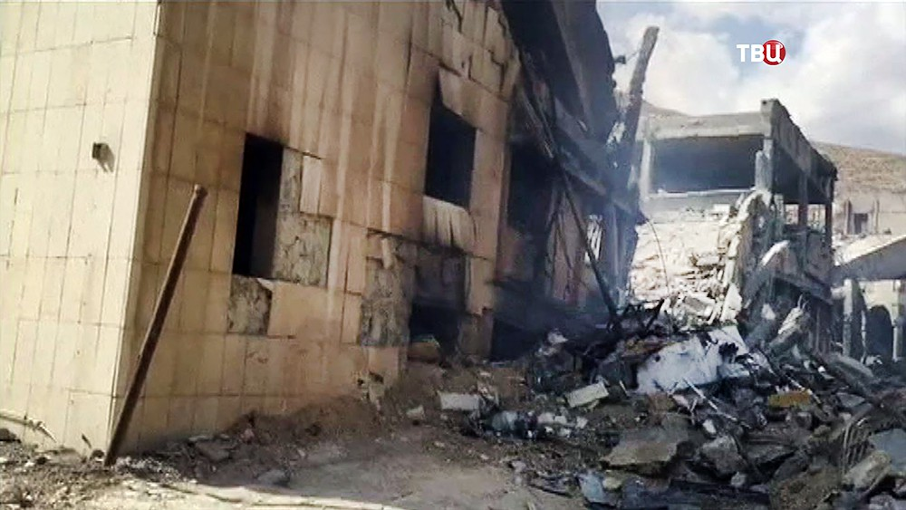 Последствия ракетного удара сил коалиции по Сирии