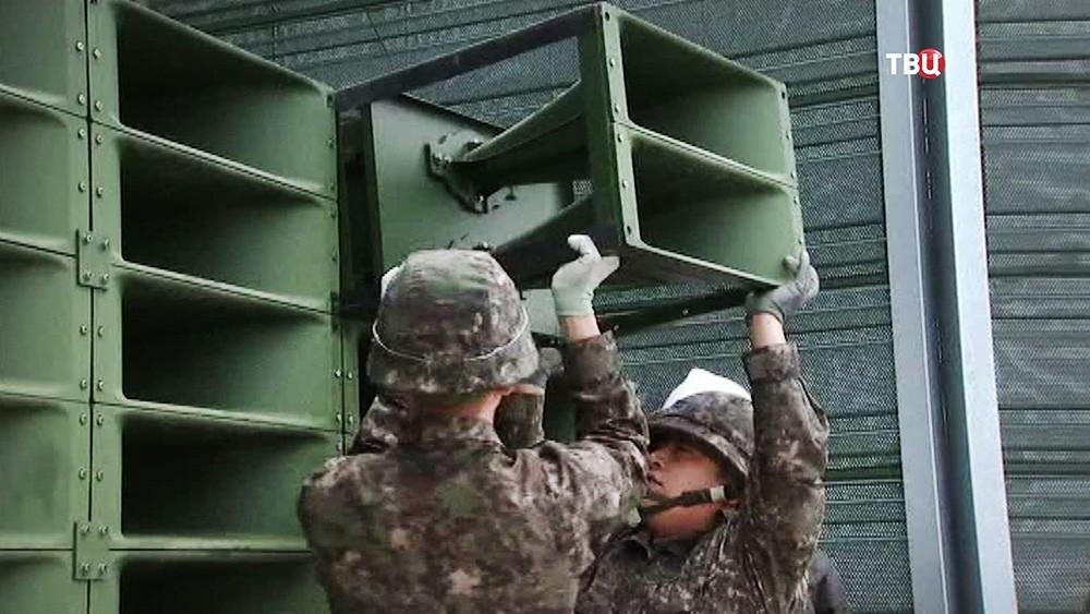 Демонтаж громкоговорителей на границы КНДР
