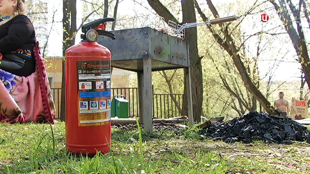 Место для пикников с огнетушителем