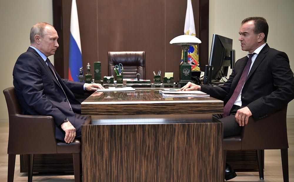 Президент России Владимир Путин и губернатор Краснодарского края Вениамин Кондратьев