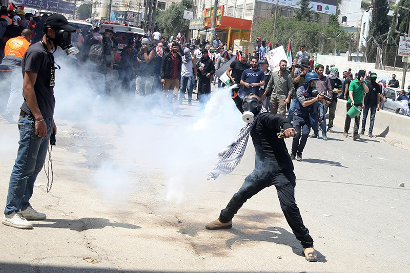 Участники протестов в Палестине против переноса посольства США из Тель-Авива в Иерусалим