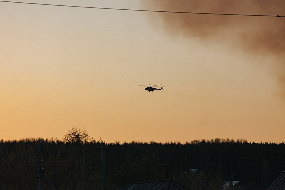 Вертолёт Ми-8 в зоне лесных пожаров