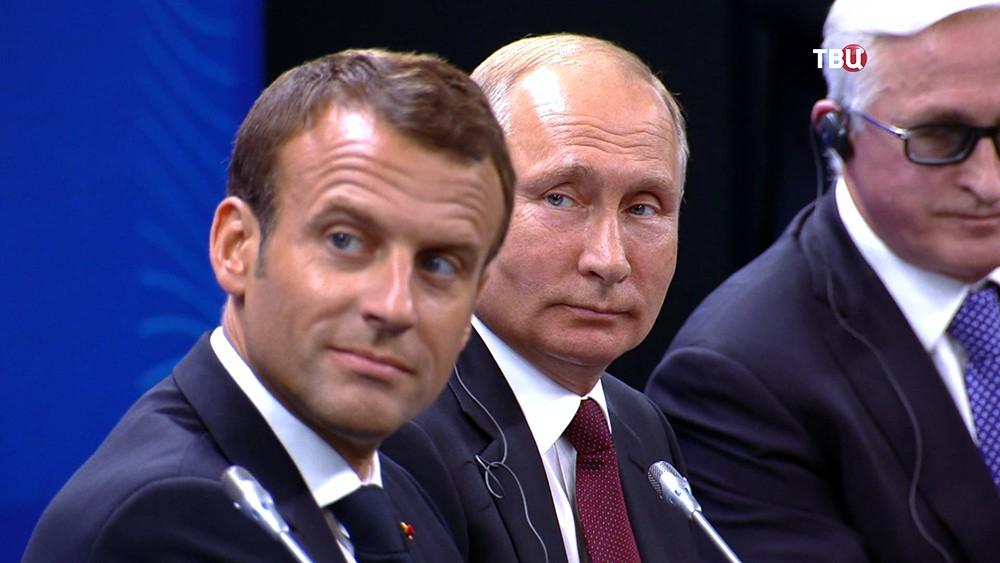 Владимир Путин и Эммануэль Макрон
