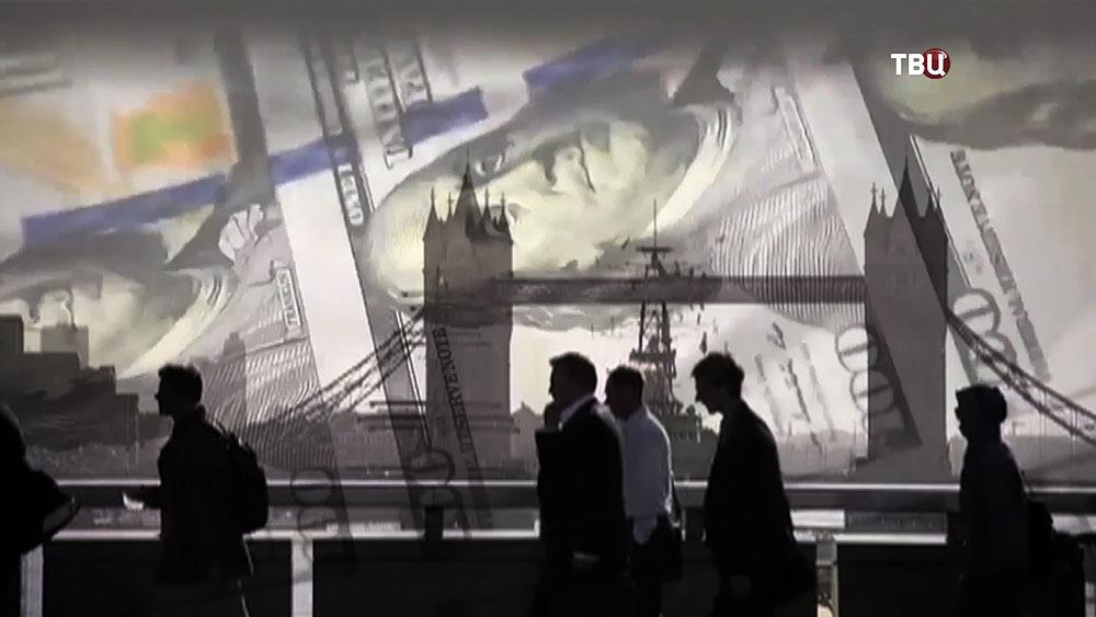 Коллаж: Лондон на фоне долларов