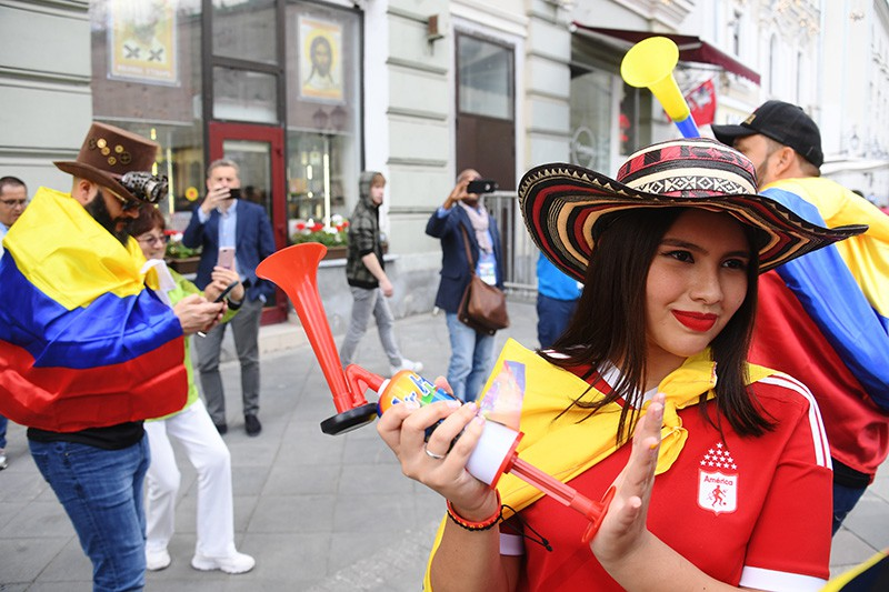 Болельщики сборной Колумбии на улице Арбат в Москве