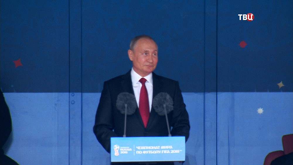 Владимир Путин во время церемонии открытия чемпионата мира по футболу 2018
