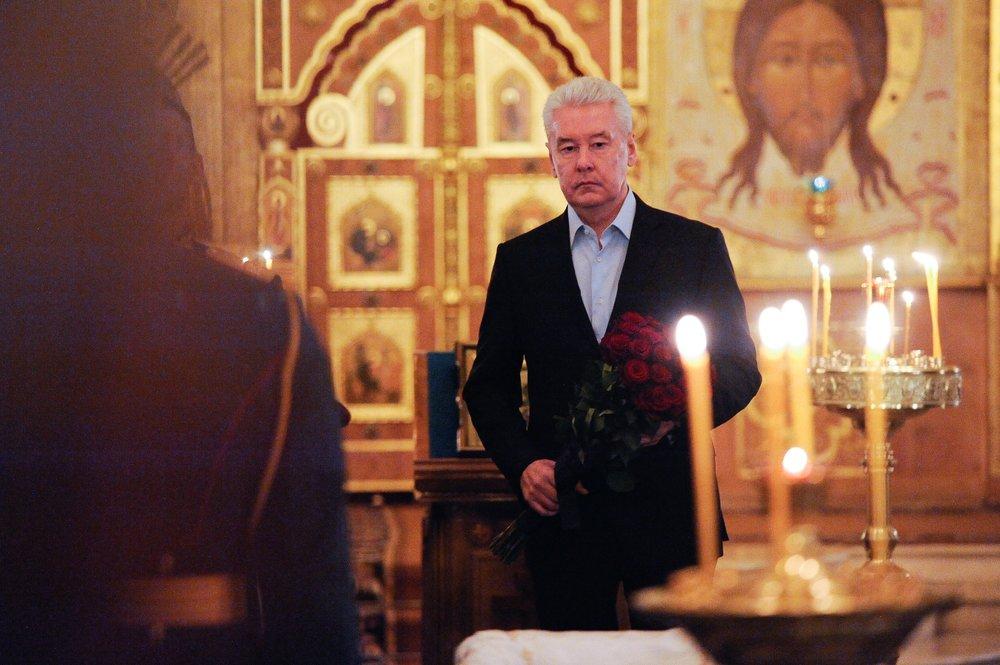 Сергей Собянин во время прощания с режиссёром Станиславом Говорухиным