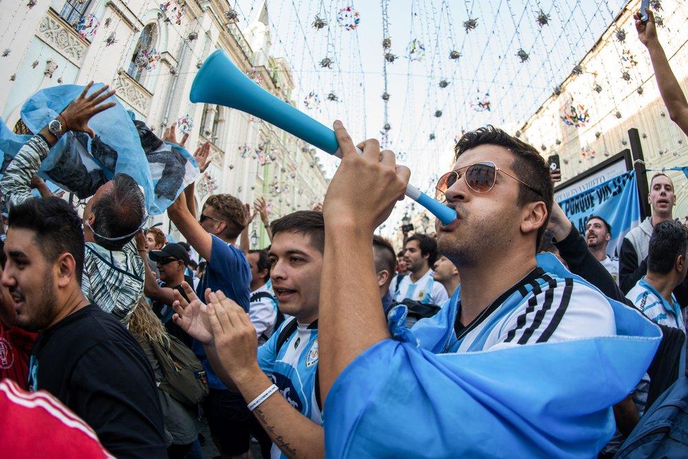 Болельщики Аргентины в центре Москвы