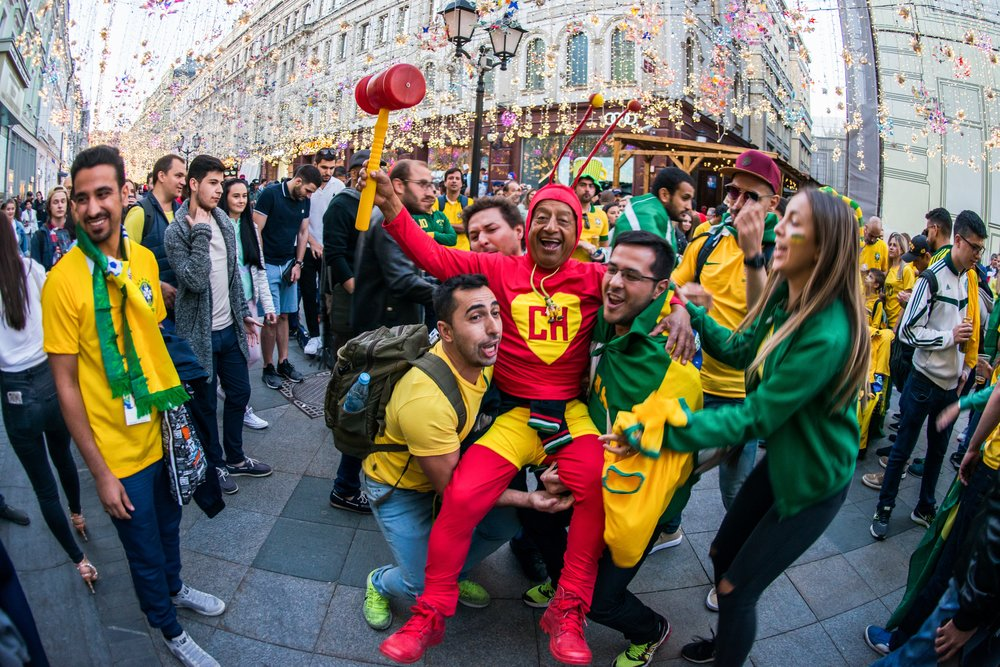 Болельщики Бразилии в центре Москвы