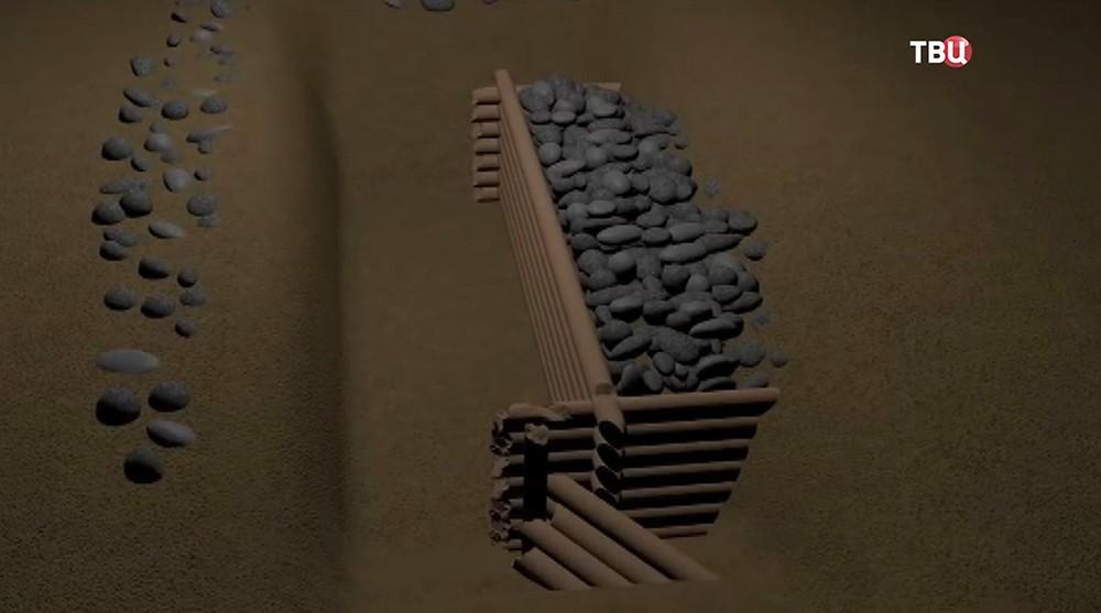 Модель найденного древнейшего моста
