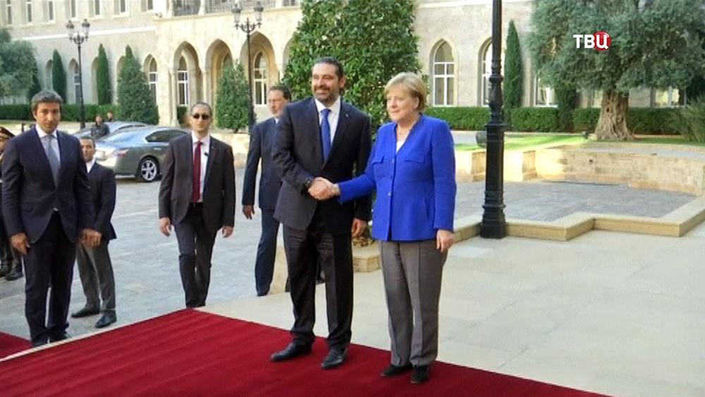 Ангела Меркель и премьер-министр Ливана Саад Харири