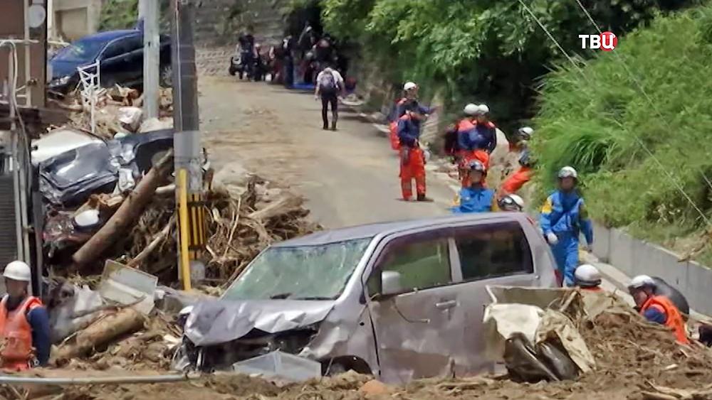 Последствия наводнения в Японии