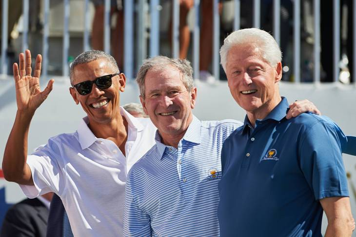 Барак Обама, Джордж Буш-младший и Билл Клинтон