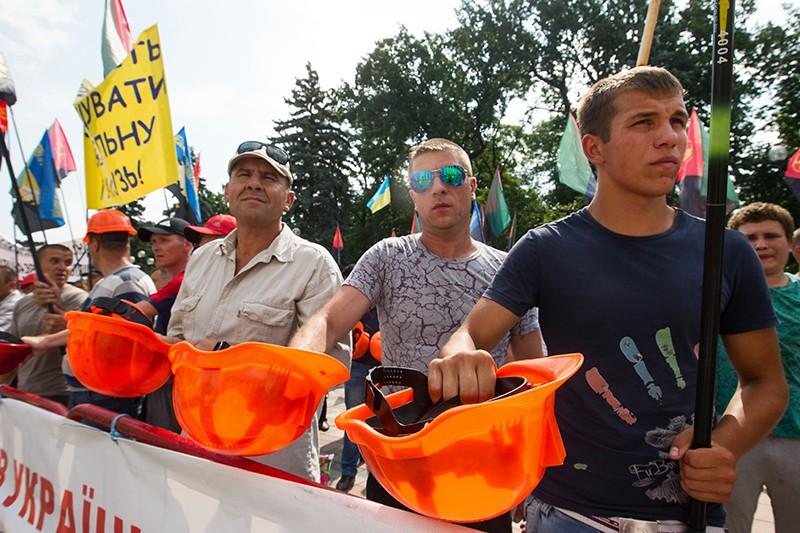Шахтеры на акции протеста в Киеве