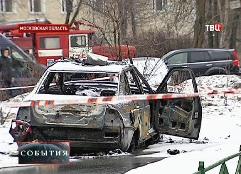 Взорванный автомобиль ДПС