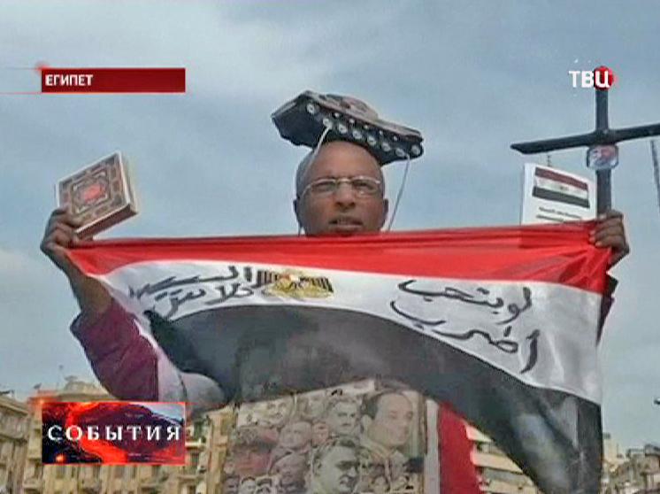 Участник демонстрации в Египте