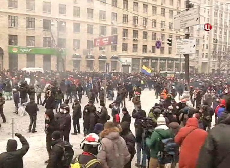 Протестующие на улице в Киеве