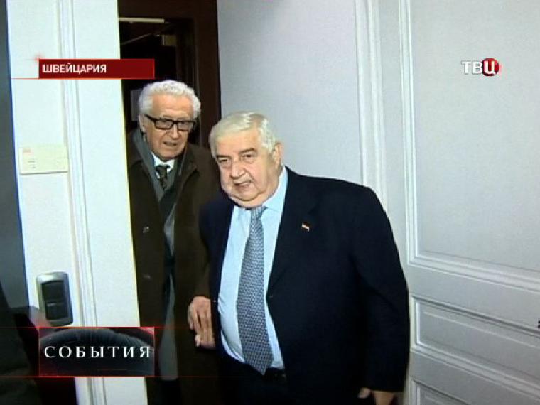 Представитель Лиги арабских государств по Сирии Лахдар Брахими и министр иностранных дел Сирии Валид Муаллем