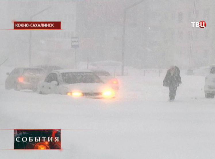 Сильный снегопад в Южно-Сахалинске