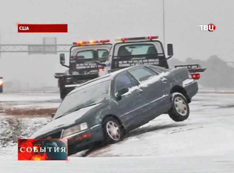 Авария на дороге из-за плохой видимости