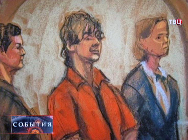 Портрет террориста в зале суда