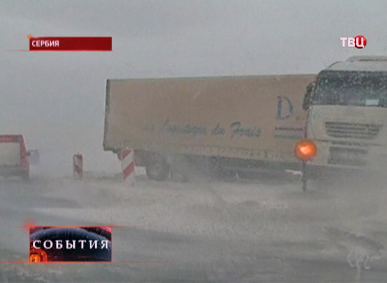 Сильный снегопад в Сербии
