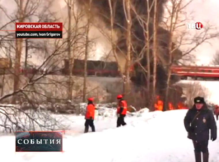 Последствия пожара на железнодорожном переезде в Кирове