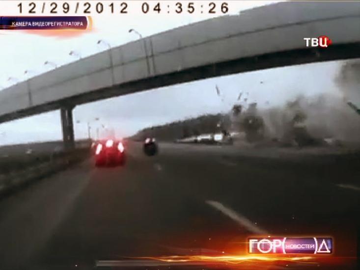Момент катастрофы самолета Ту-204 во Внуково