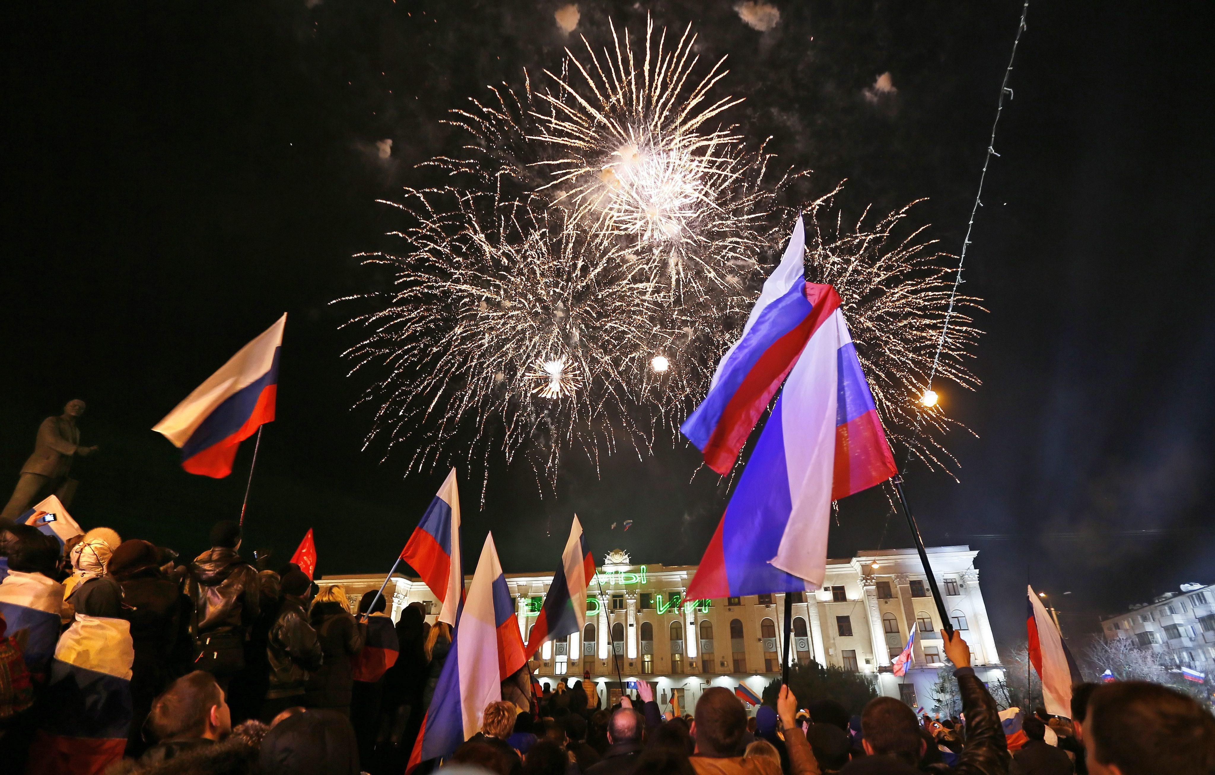 Праздник в Симферополе в день референдума в Крыму