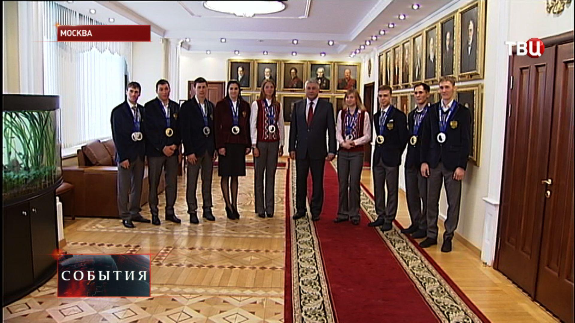 Владимир Колокольцев и полицейские-участники зимней Олимпиады