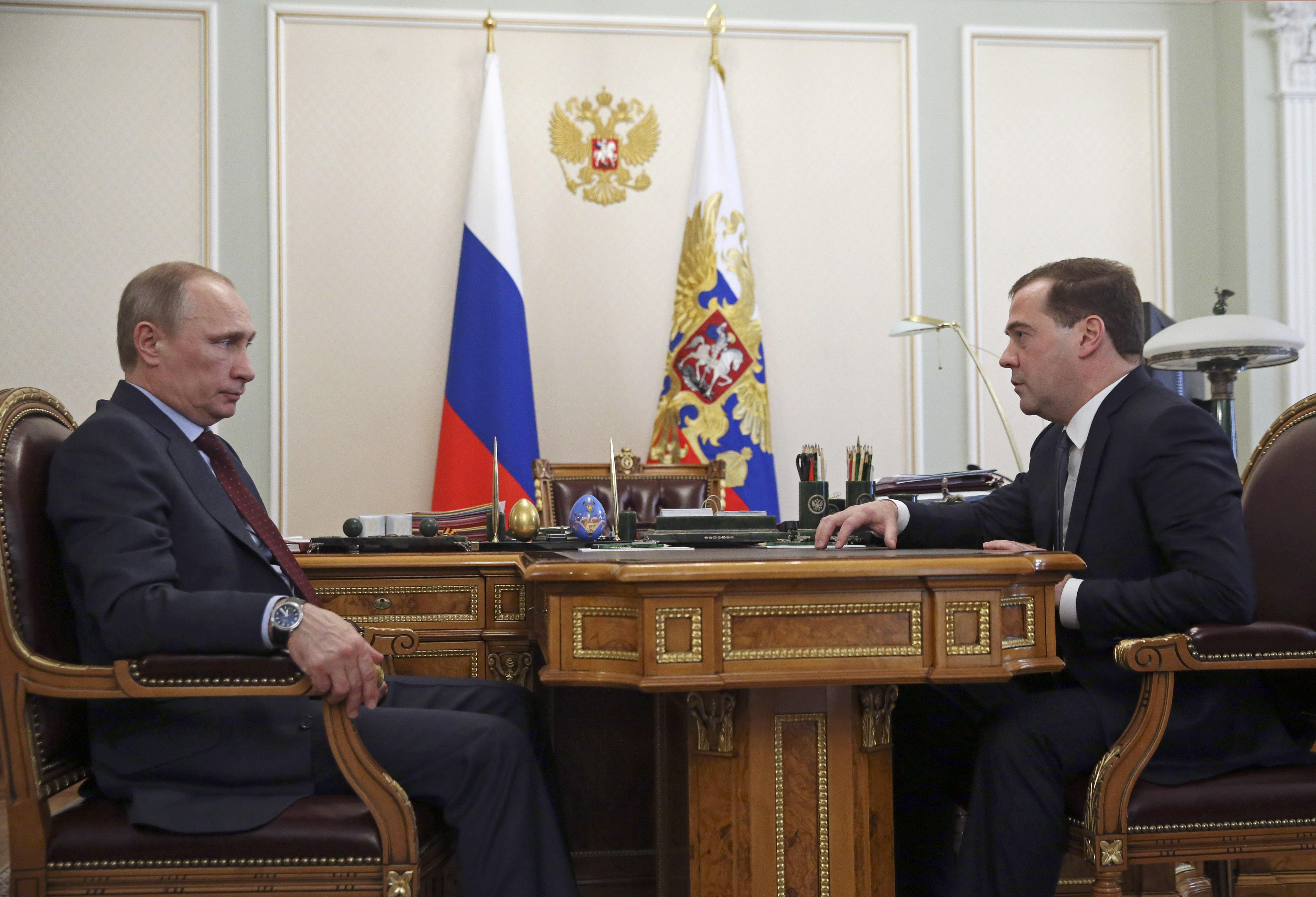 Встреча Владимира Путина с Дмитрием Медведевым