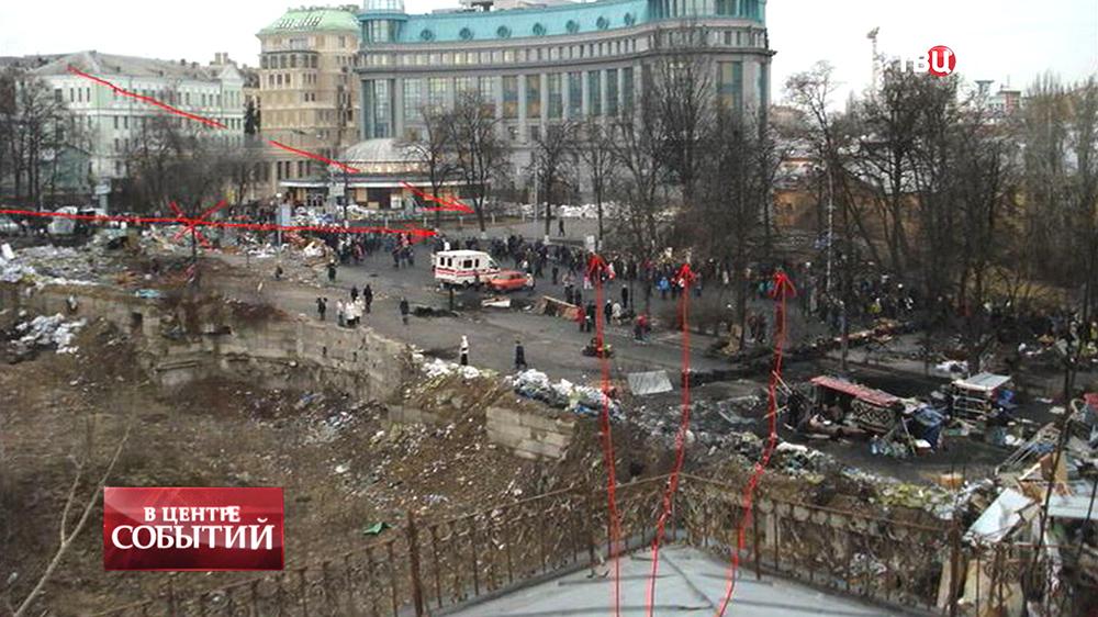 Траектории обстрела по время беспорядков в Киеве