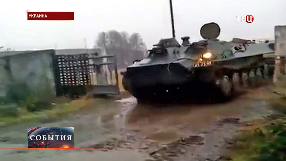 Военная техника в пригороде Донецка