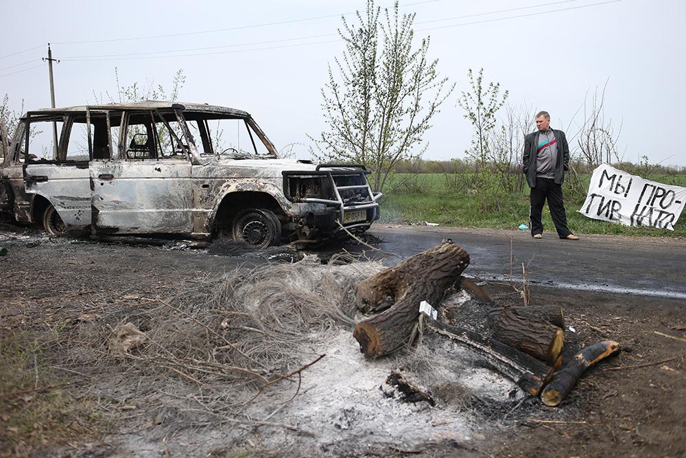 Атакованный блок-пост в Славянске