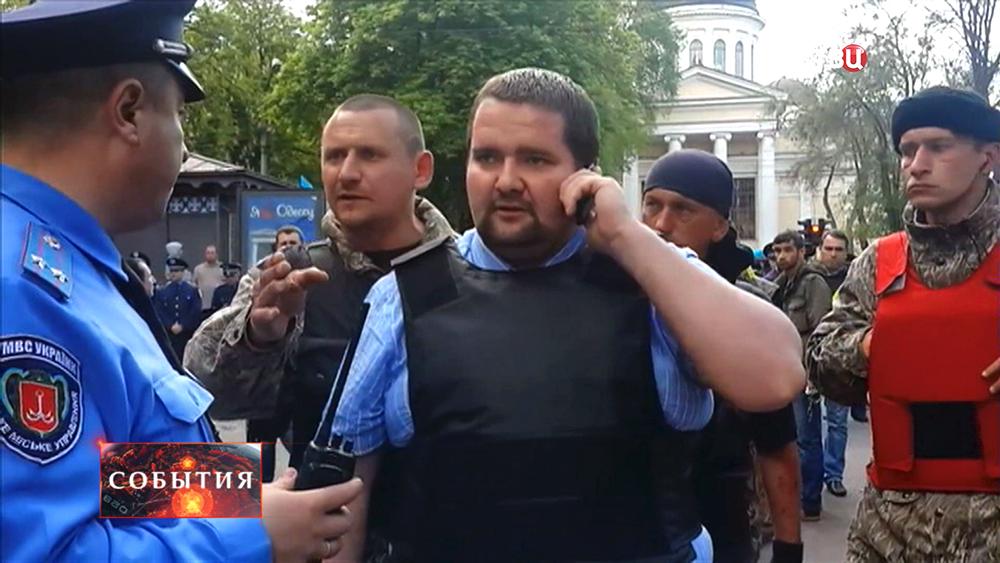 Cотник Мыкола во время беспорядках в Одессе