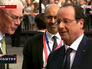 Председатель европейского совета Херман Ван Ромпей и президент Франции Франсуа Олланд